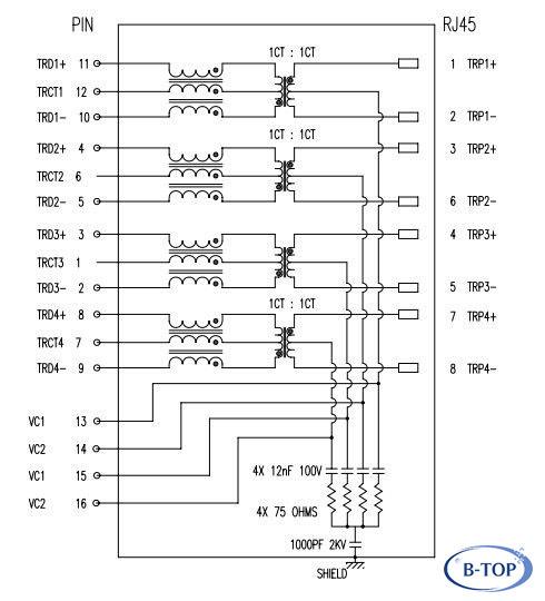 Wiring Diagram For Gigabit Ethernet : Base tx poe plus gigabit rj jack with integrated