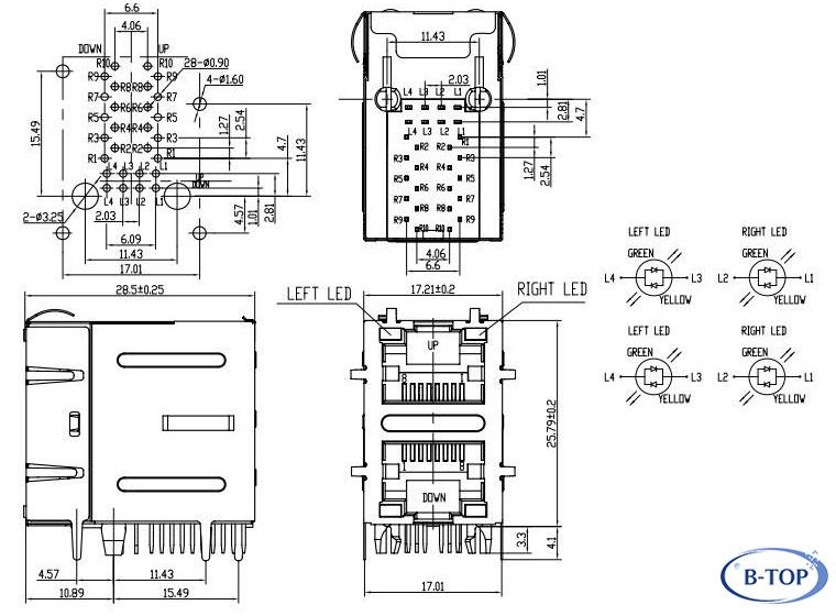 2x1 dual port giga rj45 jack with bicolor leds