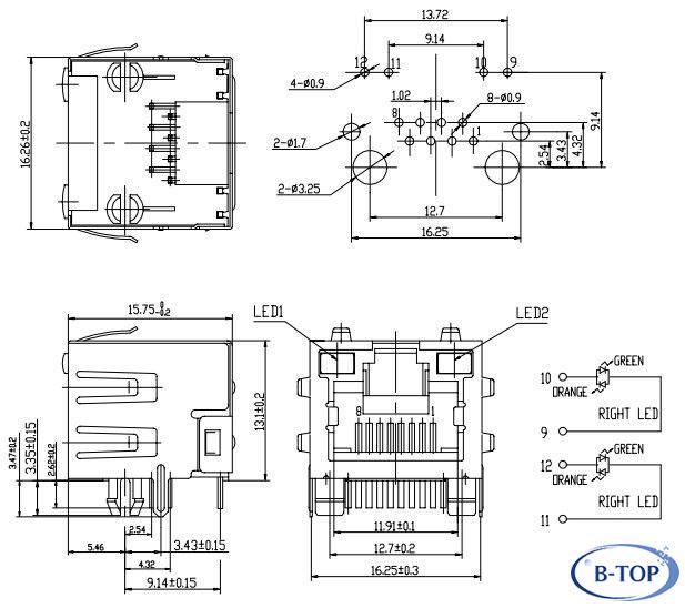 1x1 rj45 socket with bicolor leds - rj45 jack 56 series