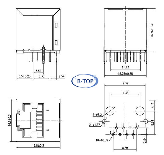 vertical top entry rj45 jack with transformer