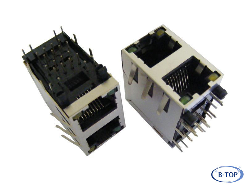 2x1 Stacked Rj45 Connector With Leds