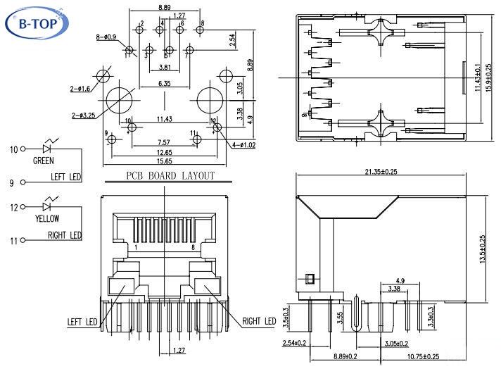 1x1 single port rj45 modular jack with transformer