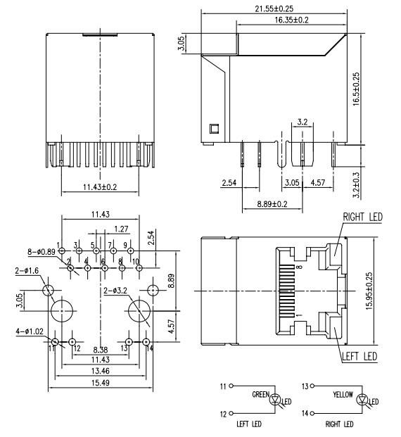 vertical rj45 jack with integrated magnetics for gigabit application