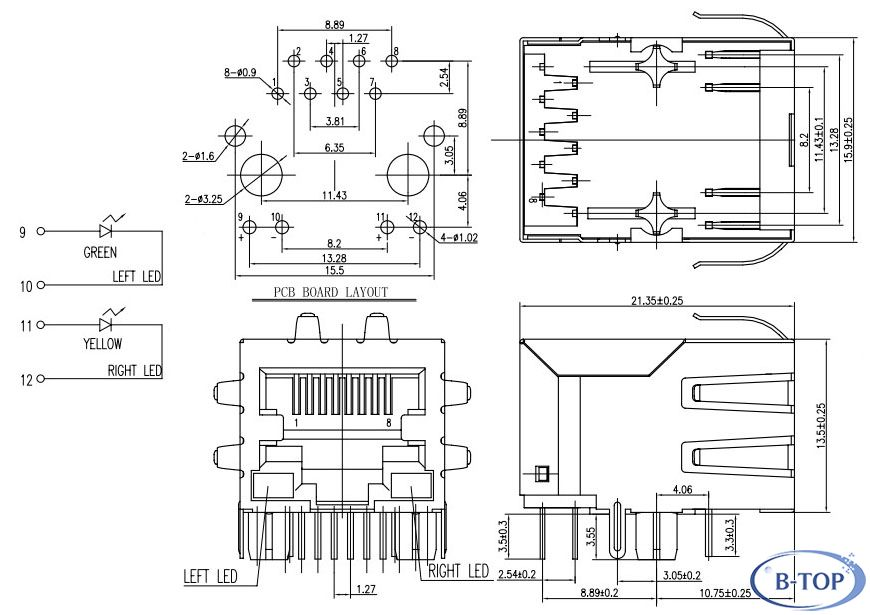 Rj45 Female Connector With Transformer And Leds
