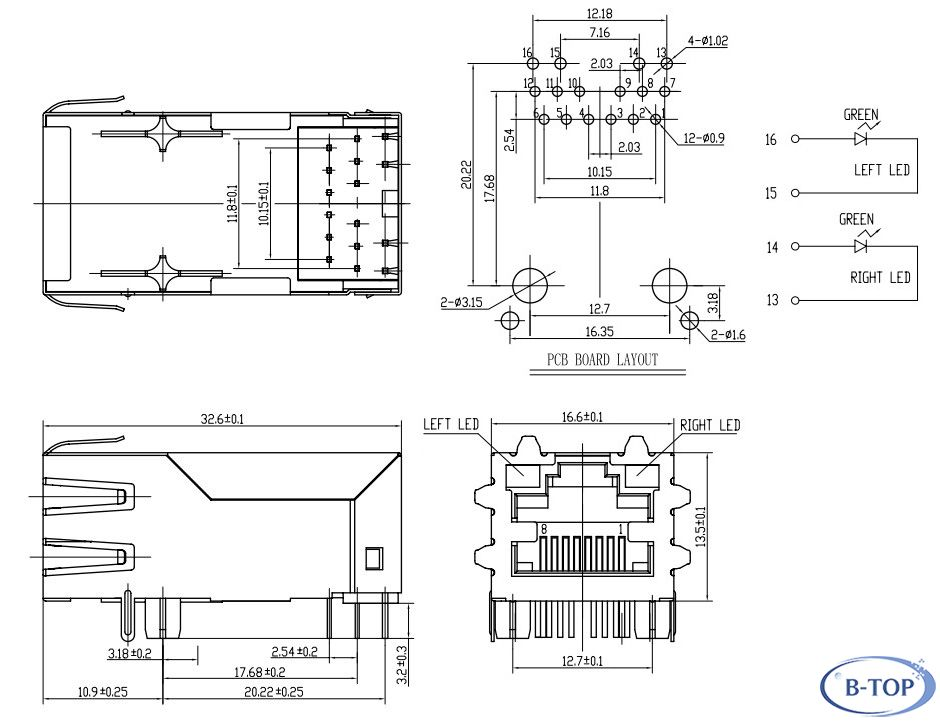 1x1 1 3inch rj45 jack with 1000m transformer