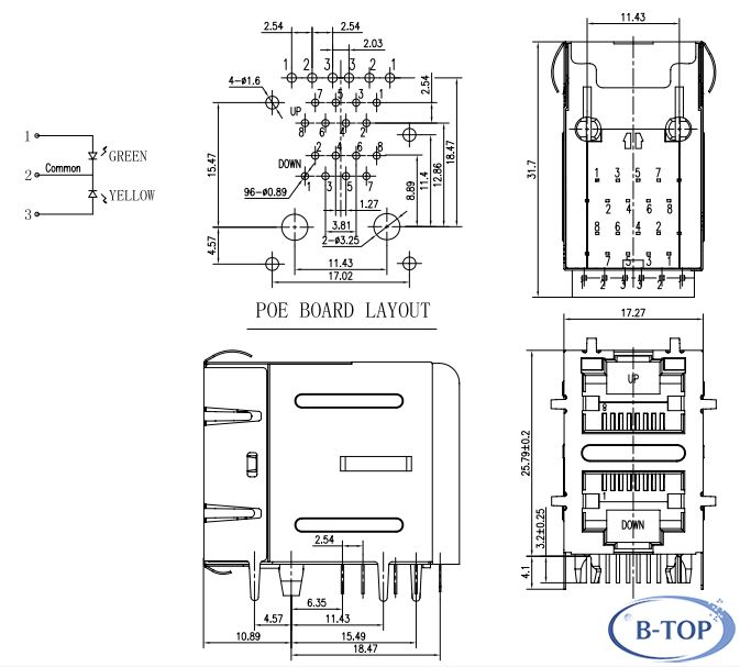 2x1 rj45 connector w  transformer w  led