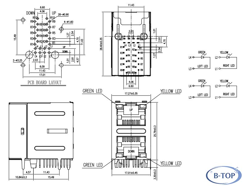 dual rj45 modular connector with 10  100base