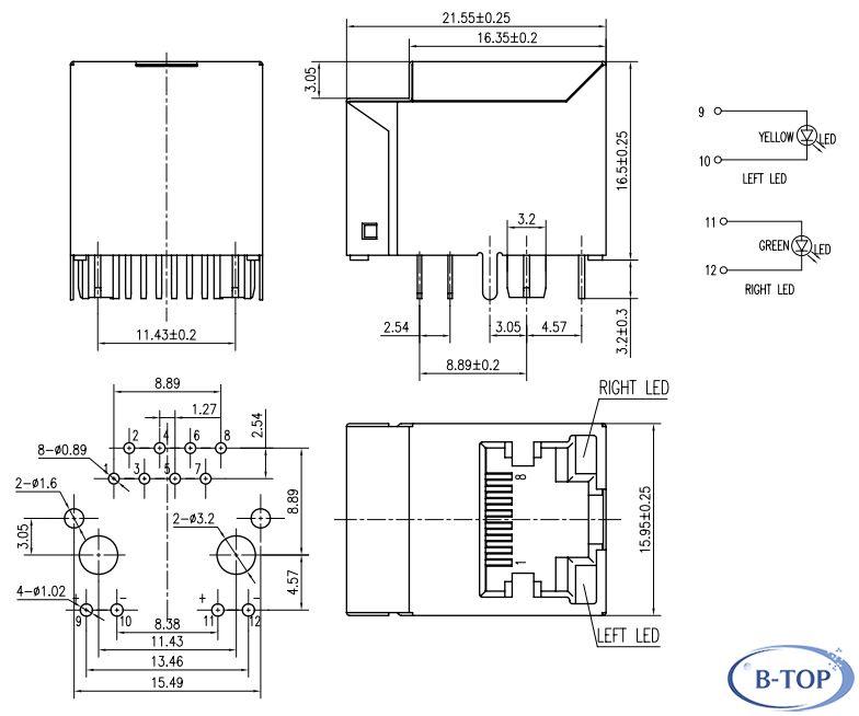 single 180 degree rj45 modular jack w  trans w  led