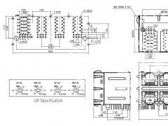 2x4 multiple port 100base-t rj45 connectors with led