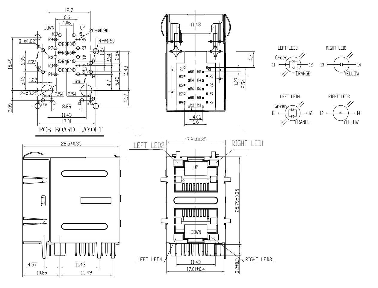 2 1 dual rj45 lan jack with transformer for gigabit